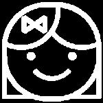 white icon of smiley face girl
